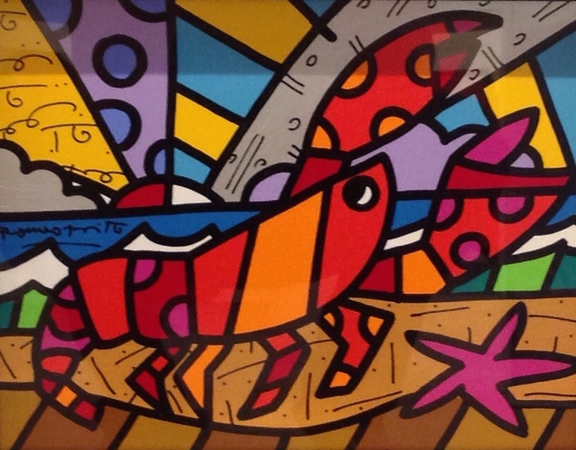 Romero-Britto-Todays-Lobster-Acrylic-on-Canvas